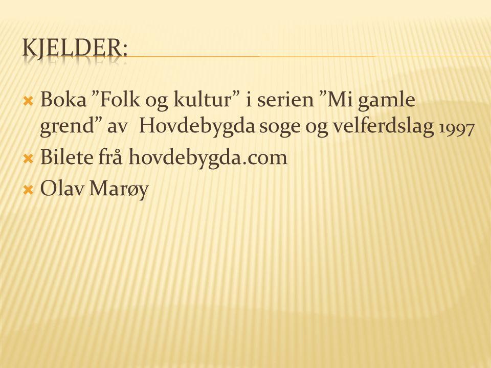  Boka Folk og kultur i serien Mi gamle grend av Hovdebygda soge og velferdslag 1997  Bilete frå hovdebygda.com  Olav Marøy