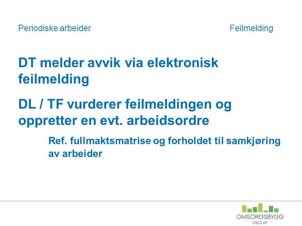 Periodiske arbeiderFeilmelding DT melder avvik via elektronisk feilmelding DL / TF vurderer feilmeldingen og oppretter en evt.