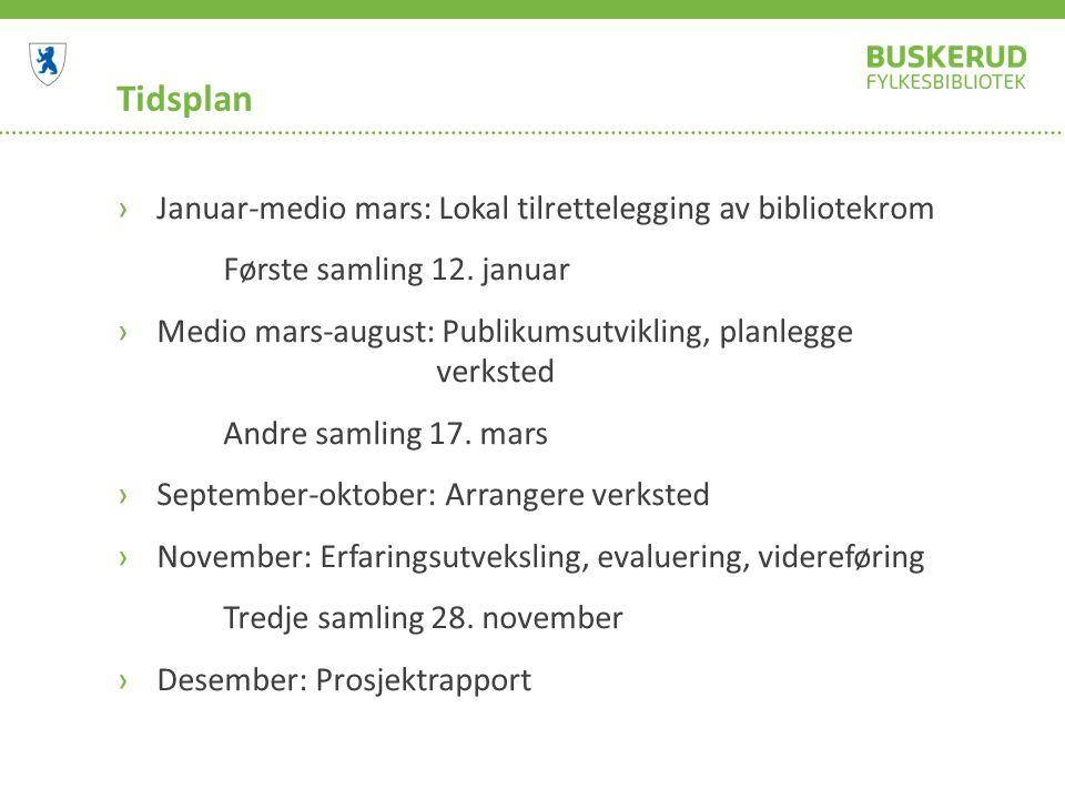 Tidsplan ›Januar-medio mars: Lokal tilrettelegging av bibliotekrom Første samling 12.