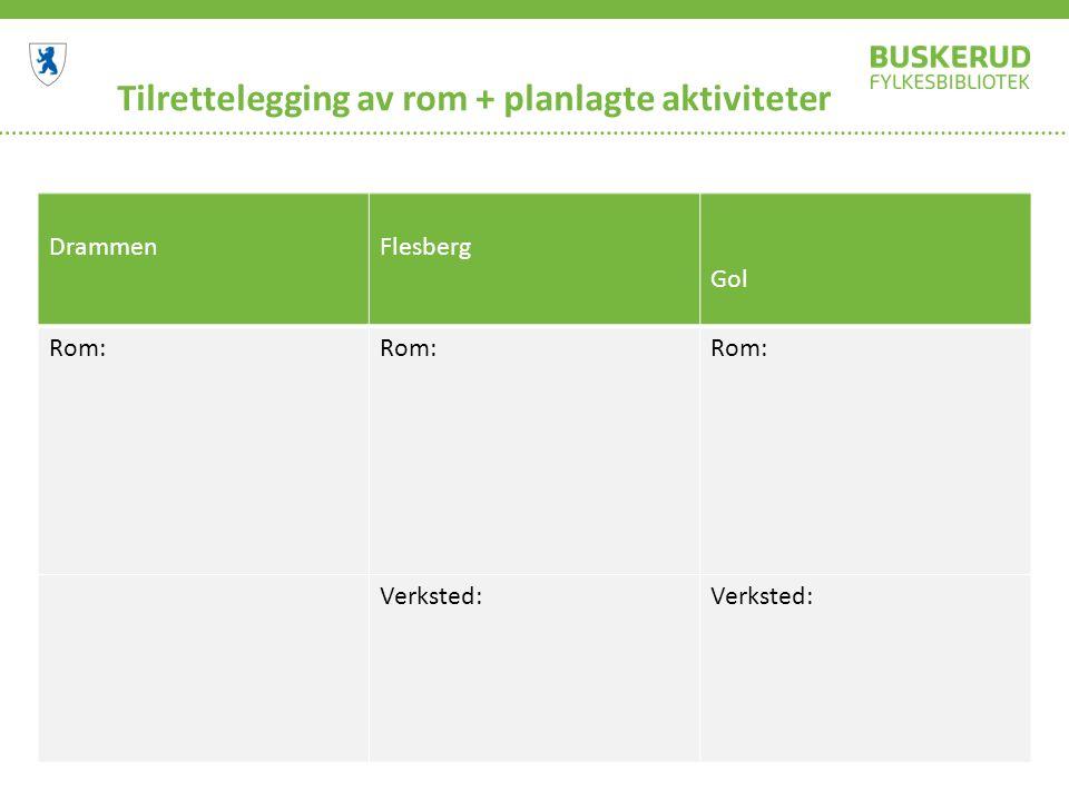 Tilrettelegging av rom + planlagte aktiviteter DrammenFlesberg Gol Rom: Verksted: