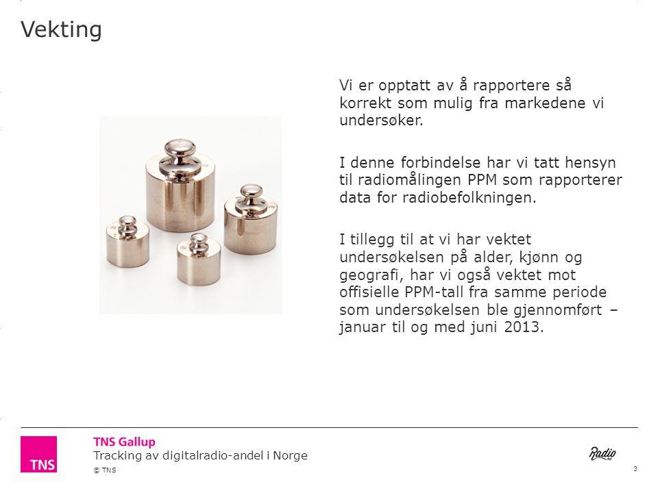 3.14 X AXIS 6.65 BASE MARGIN 5.95 TOP MARGIN 4.52 CHART TOP 11.90 LEFT MARGIN 11.90 RIGHT MARGIN Tracking av digitalradio-andel i Norge © TNS Antall apparater som blir berørt av slukking av FM- nettet Base: n= 1030 Basert på SSBs statistikk over antall husstander: 2 258 794 Snittantall apparater i husstand Estimert antall apparater i norske husstander 4