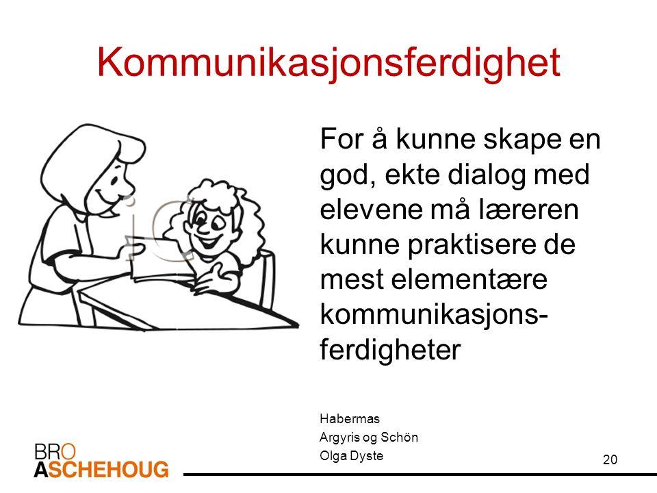 Kommunikasjonsferdighet For å kunne skape en god, ekte dialog med elevene må læreren kunne praktisere de mest elementære kommunikasjons- ferdigheter Habermas Argyris og Schön Olga Dyste 20