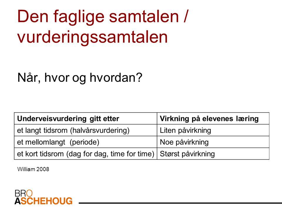 Den faglige samtalen / vurderingssamtalen Når, hvor og hvordan? William 2008