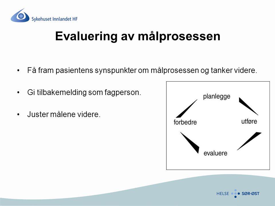 Evaluering av målprosessen Få fram pasientens synspunkter om målprosessen og tanker videre.
