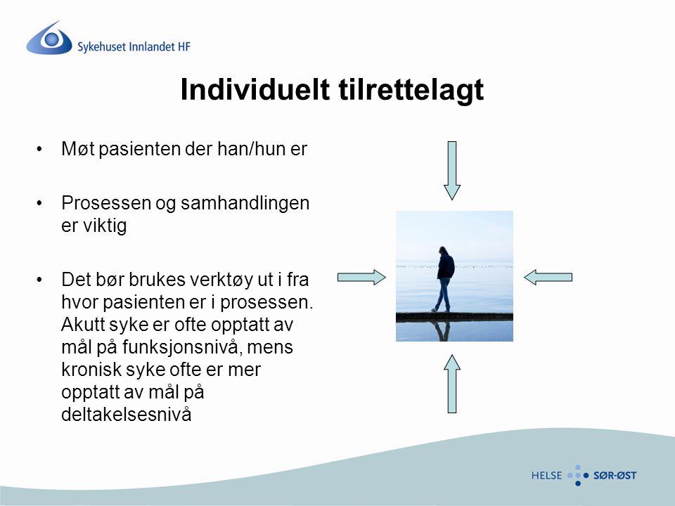 Individuelt tilrettelagt Møt pasienten der han/hun er Prosessen og samhandlingen er viktig Det bør brukes verktøy ut i fra hvor pasienten er i prosessen.