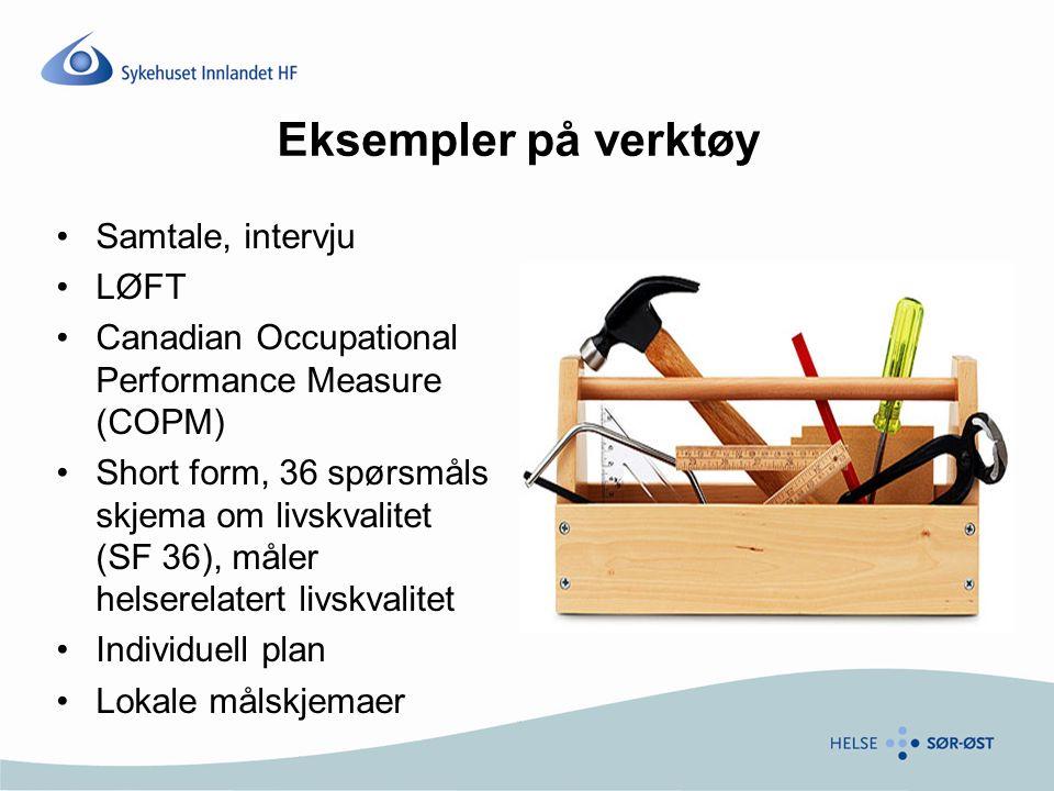 Eksempler på verktøy Samtale, intervju LØFT Canadian Occupational Performance Measure (COPM) Short form, 36 spørsmåls skjema om livskvalitet (SF 36), måler helserelatert livskvalitet Individuell plan Lokale målskjemaer