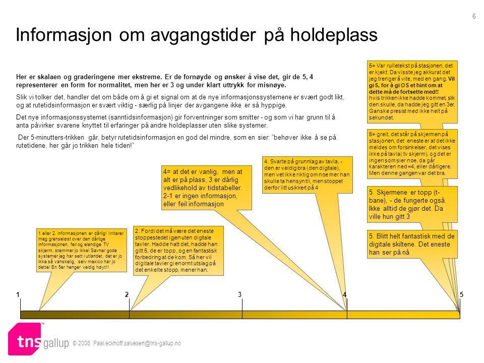 © 2006 Paal.eckhoff.salvesen@tns-gallup.no 6 Informasjon om avgangstider på holdeplass 4.
