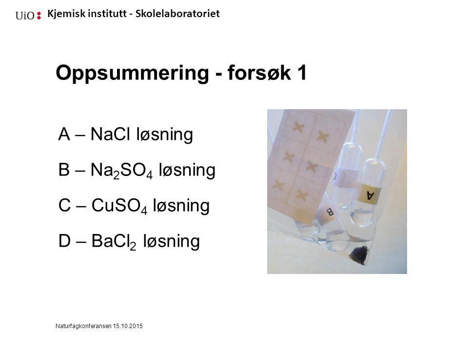 Kjemisk institutt - Skolelaboratoriet Oppsummering - forsøk 1 A – NaCl løsning B – Na 2 SO 4 løsning C – CuSO 4 løsning D – BaCl 2 løsning Naturfagkonferansen 15.10.2015