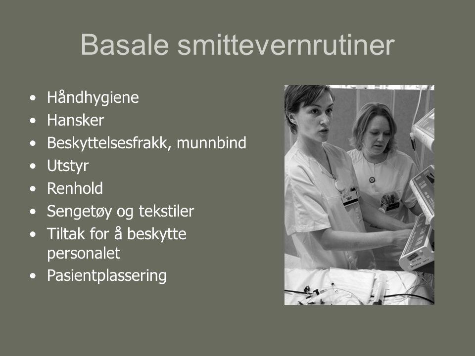 Basale smittevernrutiner Håndhygiene Hansker Beskyttelsesfrakk, munnbind Utstyr Renhold Sengetøy og tekstiler Tiltak for å beskytte personalet Pasientplassering