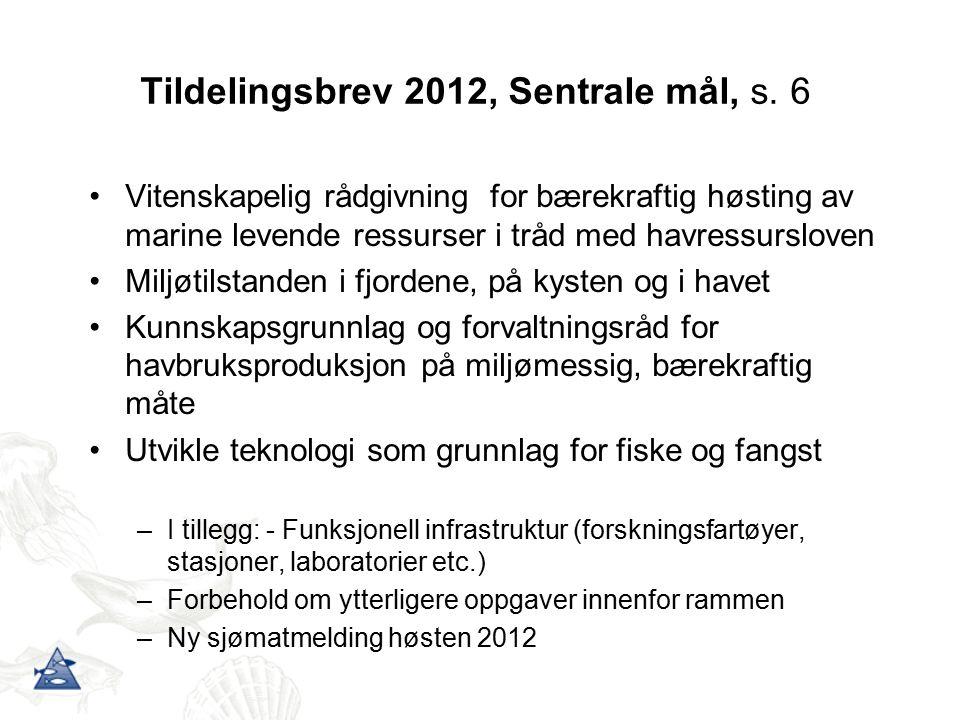 Tildelingsbrev 2012, Sentrale mål, s. 6 Vitenskapelig rådgivning for bærekraftig høsting av marine levende ressurser i tråd med havressursloven Miljøt