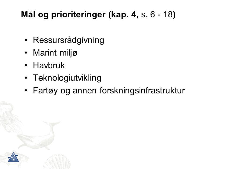 Mål og prioriteringer (kap. 4, s. 6 - 18) Ressursrådgivning Marint miljø Havbruk Teknologiutvikling Fartøy og annen forskningsinfrastruktur