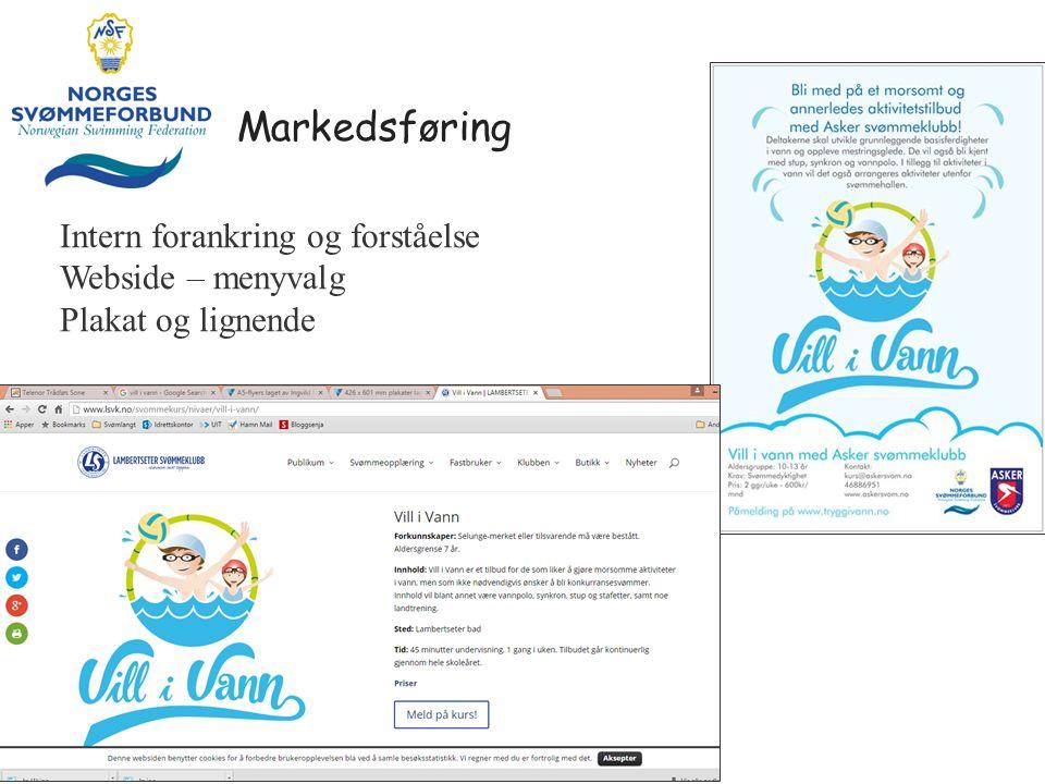 Markedsføring Intern forankring og forståelse Webside – menyvalg Plakat og lignende