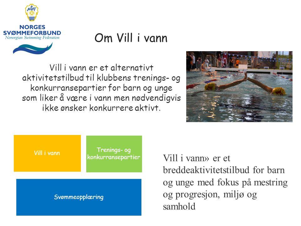Om Vill i vann Vill i vann er et alternativt aktivitetstilbud til klubbens trenings- og konkurransepartier for barn og unge som liker å være i vann men nødvendigvis ikke ønsker konkurrere aktivt.