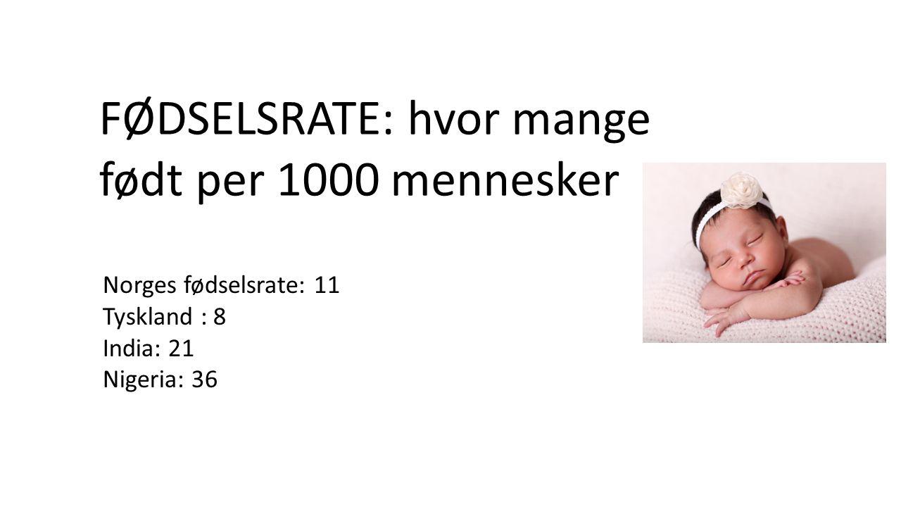 FØDSELSRATE: hvor mange født per 1000 mennesker Norges fødselsrate: 11 Tyskland : 8 India: 21 Nigeria: 36