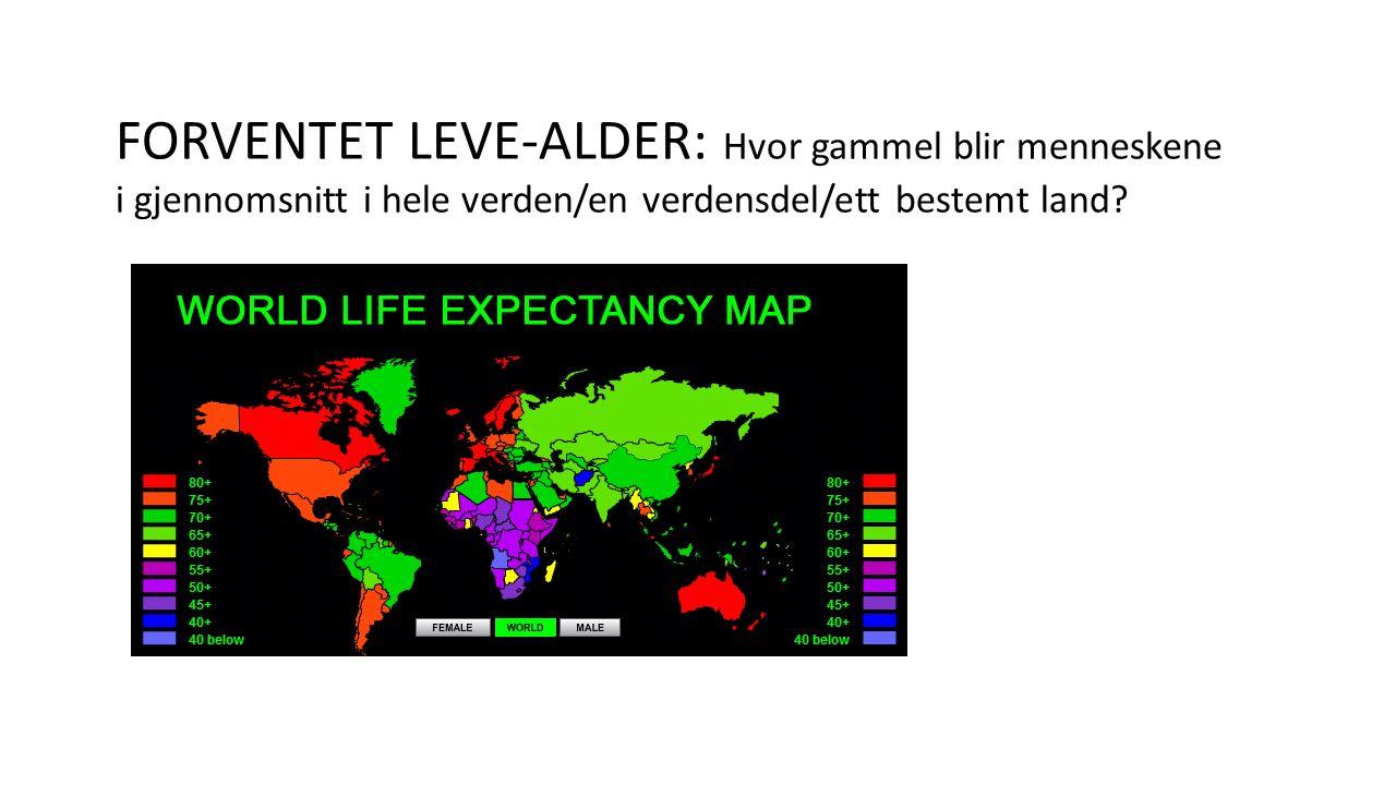 FORVENTET LEVE-ALDER: Hvor gammel blir menneskene i gjennomsnitt i hele verden/en verdensdel/ett bestemt land?