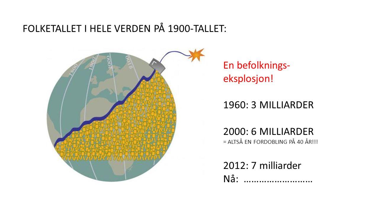 FOLKETALLET I HELE VERDEN PÅ 1900-TALLET: En befolknings- eksplosjon.