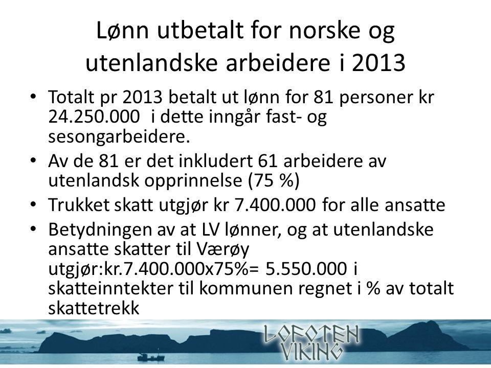 Lønn utbetalt for norske og utenlandske arbeidere i 2013 Totalt pr 2013 betalt ut lønn for 81 personer kr 24.250.000 i dette inngår fast- og sesongarbeidere.