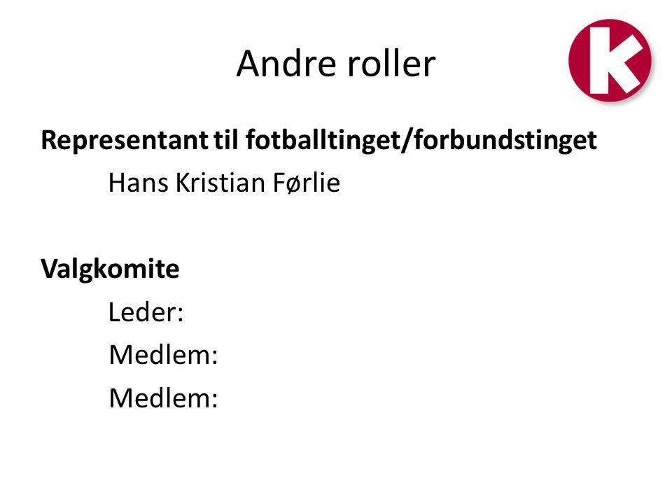 Andre roller Representant til fotballtinget/forbundstinget Hans Kristian Førlie Valgkomite Leder: Medlem:
