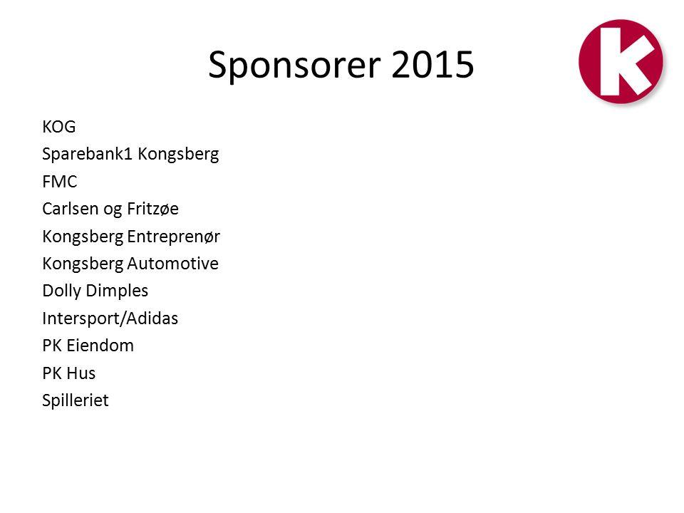 Sponsorer 2015 KOG Sparebank1 Kongsberg FMC Carlsen og Fritzøe Kongsberg Entreprenør Kongsberg Automotive Dolly Dimples Intersport/Adidas PK Eiendom PK Hus Spilleriet