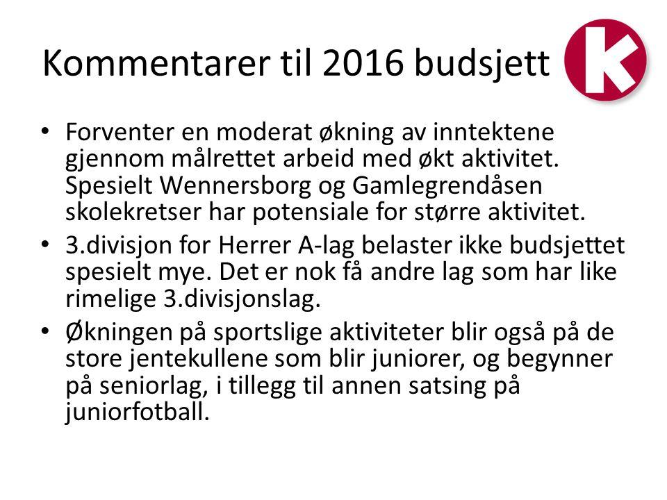 Kommentarer til 2016 budsjett Forventer en moderat økning av inntektene gjennom målrettet arbeid med økt aktivitet.