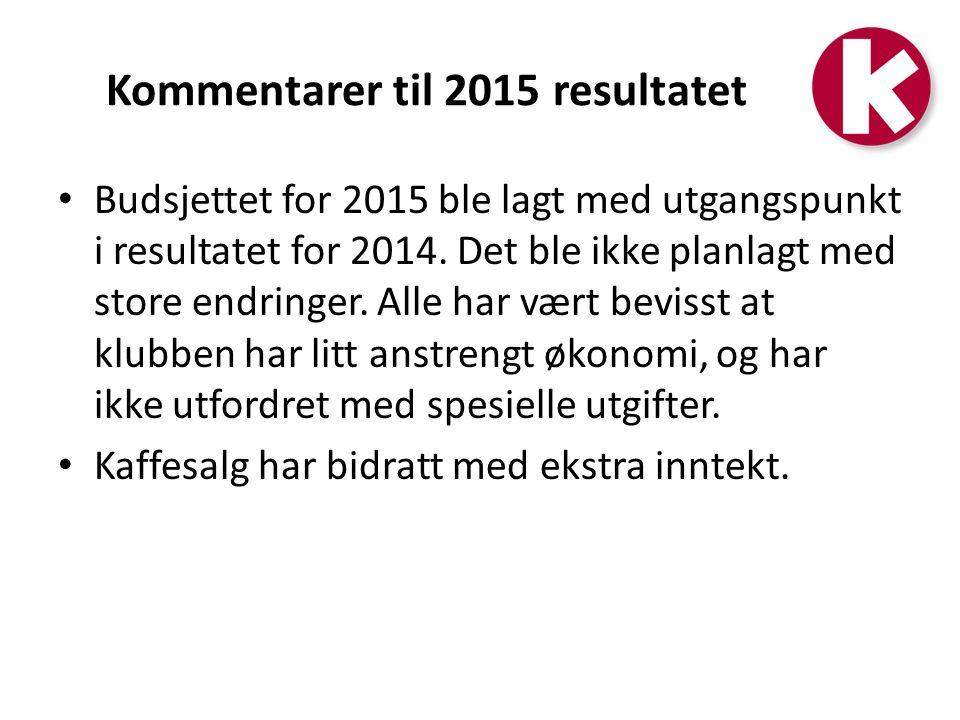 Kommentarer til 2015 resultatet Budsjettet for 2015 ble lagt med utgangspunkt i resultatet for 2014.