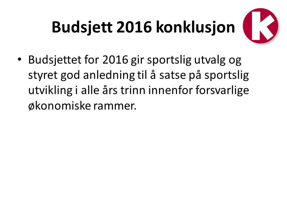 Budsjett 2016 konklusjon Budsjettet for 2016 gir sportslig utvalg og styret god anledning til å satse på sportslig utvikling i alle års trinn innenfor forsvarlige økonomiske rammer.