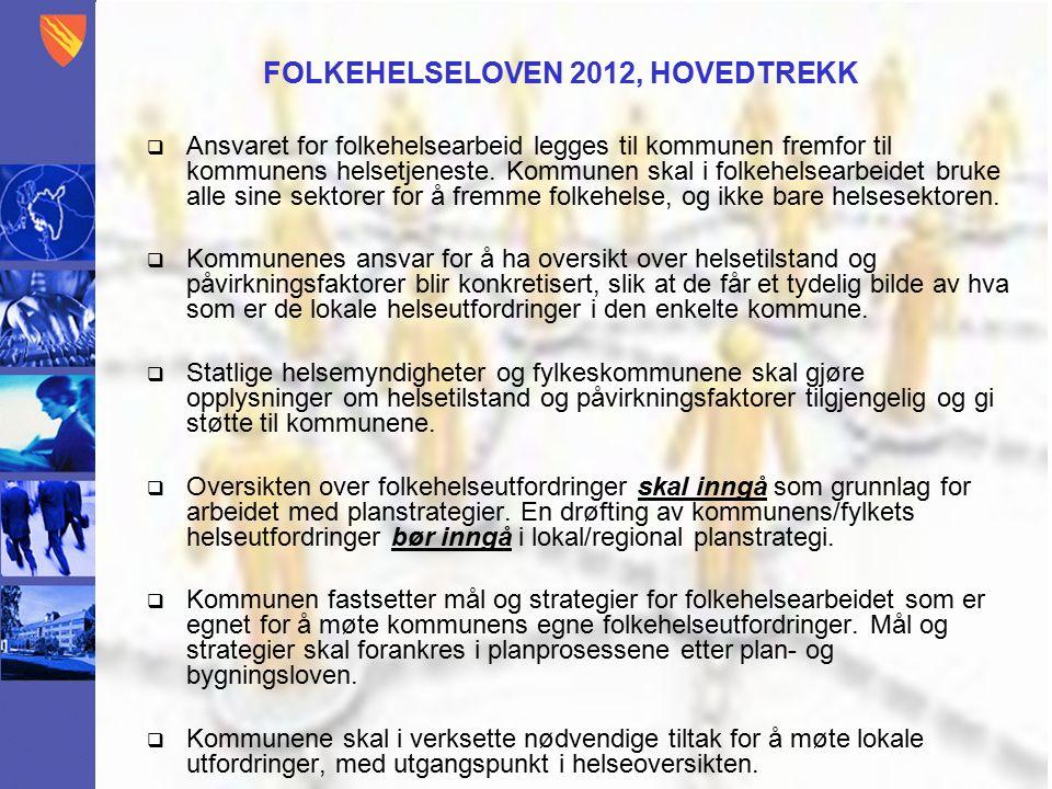 FOLKEHELSELOVEN 2012, HOVEDTREKK  Ansvaret for folkehelsearbeid legges til kommunen fremfor til kommunens helsetjeneste.