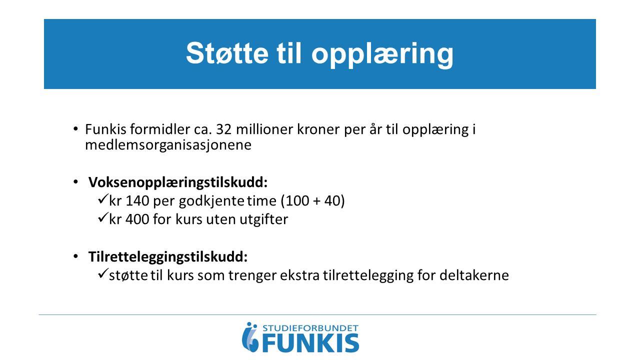 Støtte til opplæring Funkis formidler ca. 32 millioner kroner per år til opplæring i medlemsorganisasjonene Voksenopplæringstilskudd: kr 140 per godkj