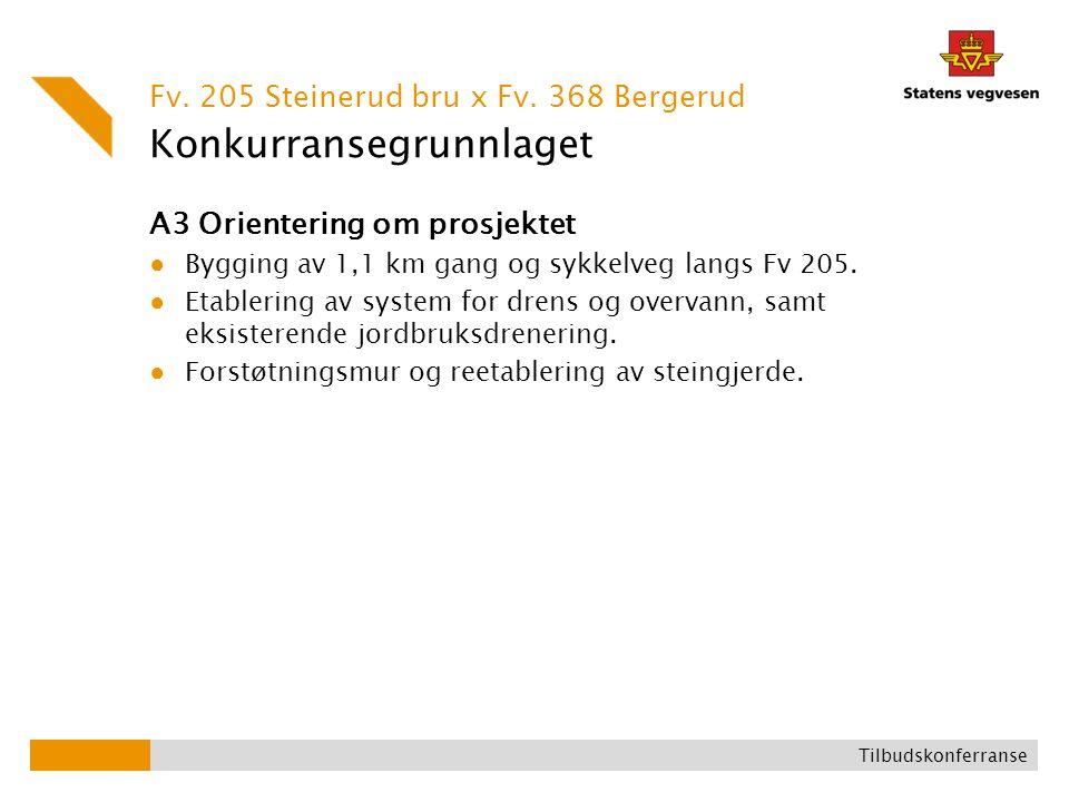 Konkurransegrunnlaget A3 Orientering om prosjektet ● Bygging av 1,1 km gang og sykkelveg langs Fv 205. ● Etablering av system for drens og overvann, s