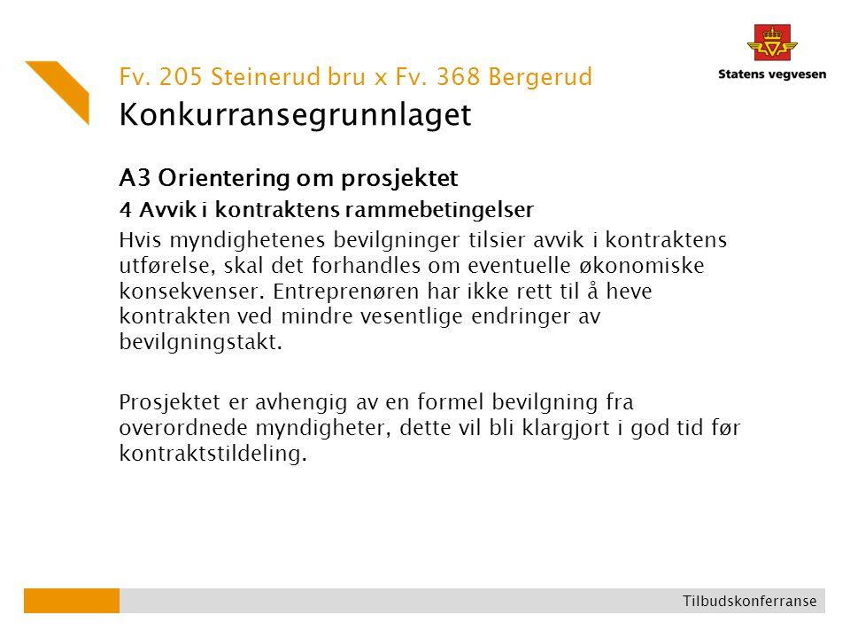 Konkurransegrunnlaget A3 Orientering om prosjektet 4 Avvik i kontraktens rammebetingelser Hvis myndighetenes bevilgninger tilsier avvik i kontraktens