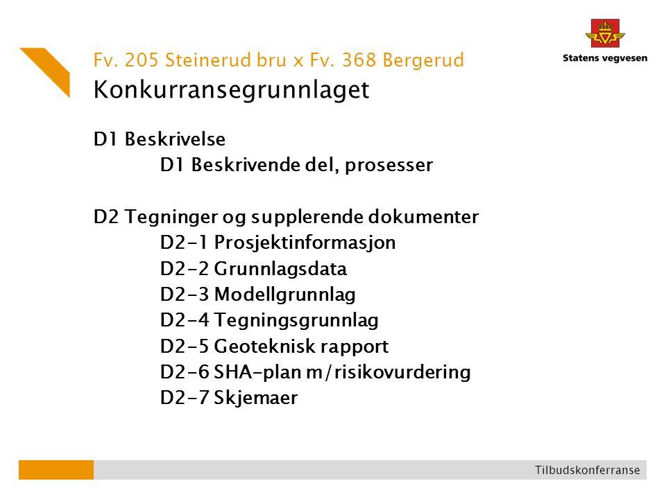 Konkurransegrunnlaget D1 Beskrivelse D1 Beskrivende del, prosesser D2 Tegninger og supplerende dokumenter D2-1 Prosjektinformasjon D2-2 Grunnlagsdata D2-3 Modellgrunnlag D2-4 Tegningsgrunnlag D2-5 Geoteknisk rapport D2-6 SHA-plan m/risikovurdering D2-7 Skjemaer Fv.