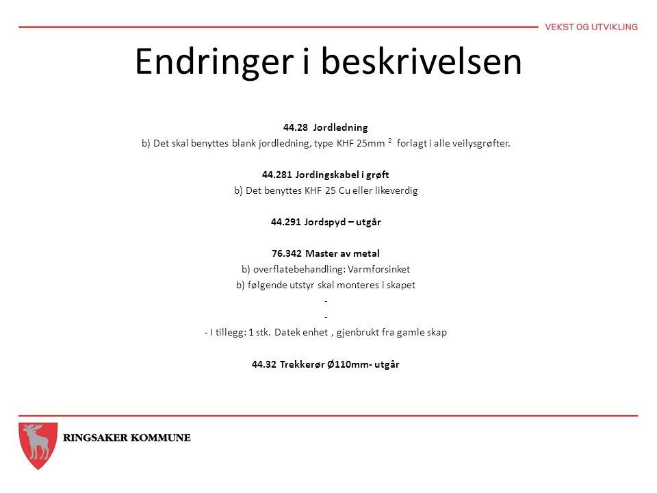Endringer i beskrivelsen 44.28 Jordledning b) Det skal benyttes blank jordledning, type KHF 25mm 2 forlagt i alle veilysgrøfter.