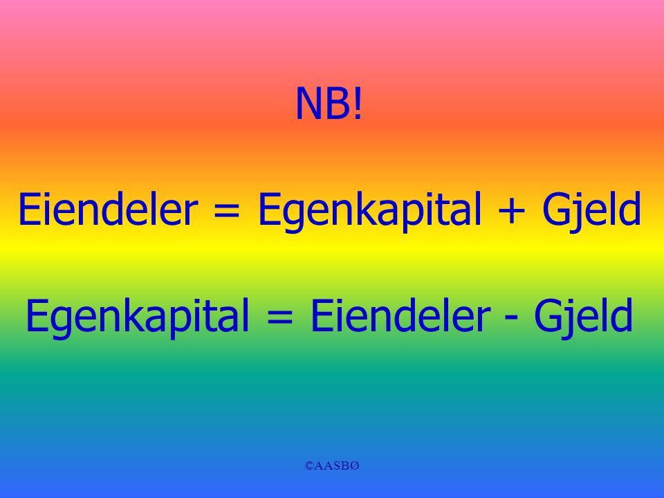 ©AASBØ NB! Eiendeler = Egenkapital + Gjeld Egenkapital = Eiendeler - Gjeld