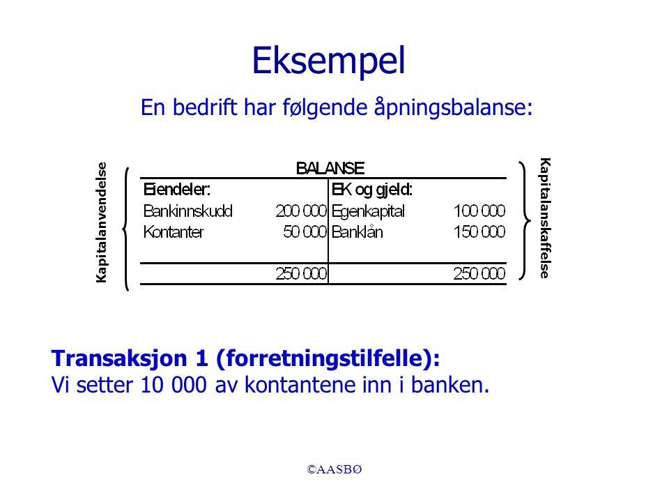 ©AASBØ Eksempel En bedrift har følgende åpningsbalanse: Kapitalanskaffelse Kapitalanvendelse Transaksjon 1 (forretningstilfelle): Vi setter 10 000 av kontantene inn i banken.