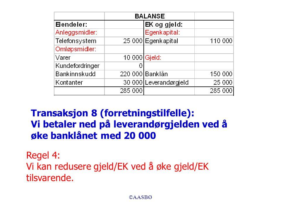 ©AASBØ Regel 4: Vi kan redusere gjeld/EK ved å øke gjeld/EK tilsvarende.
