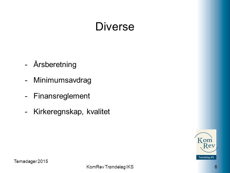 KomRev Trøndelag IKS Diverse -Årsberetning -Minimumsavdrag -Finansreglement -Kirkeregnskap, kvalitet Temadager 2015 6