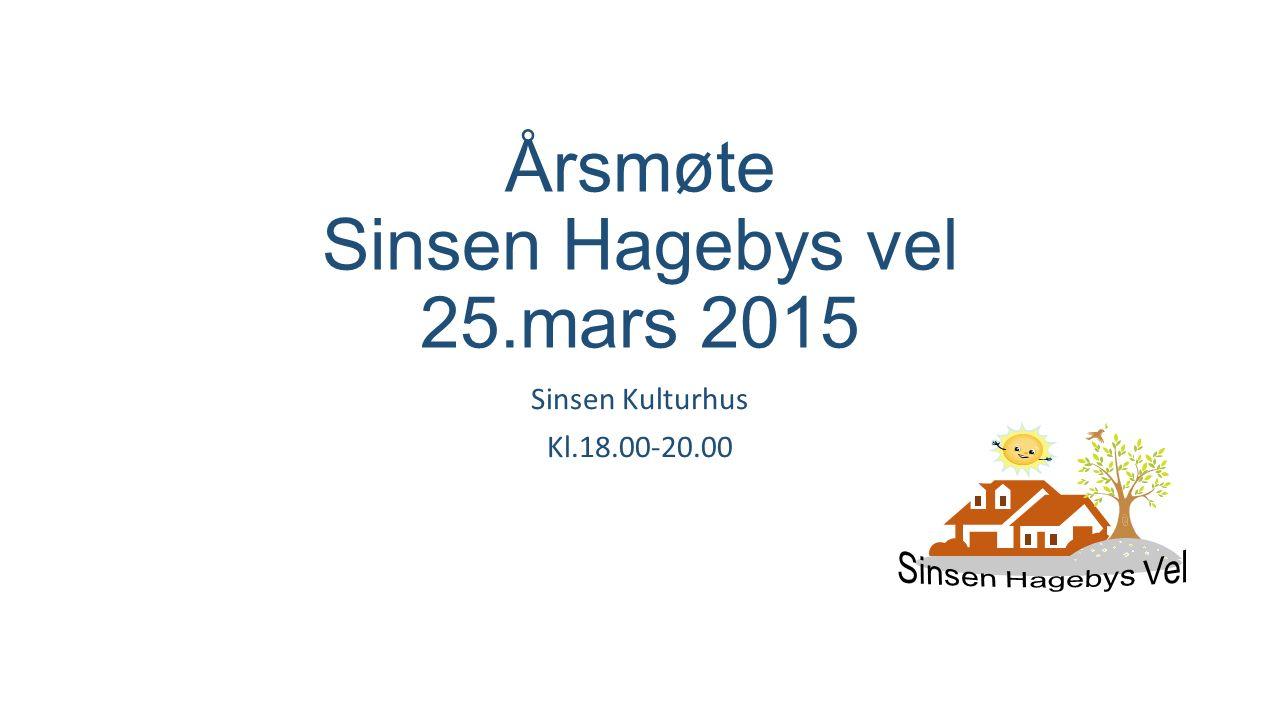 Årsmøte Sinsen Hagebys vel 25.mars 2015 Sinsen Kulturhus Kl.18.00-20.00