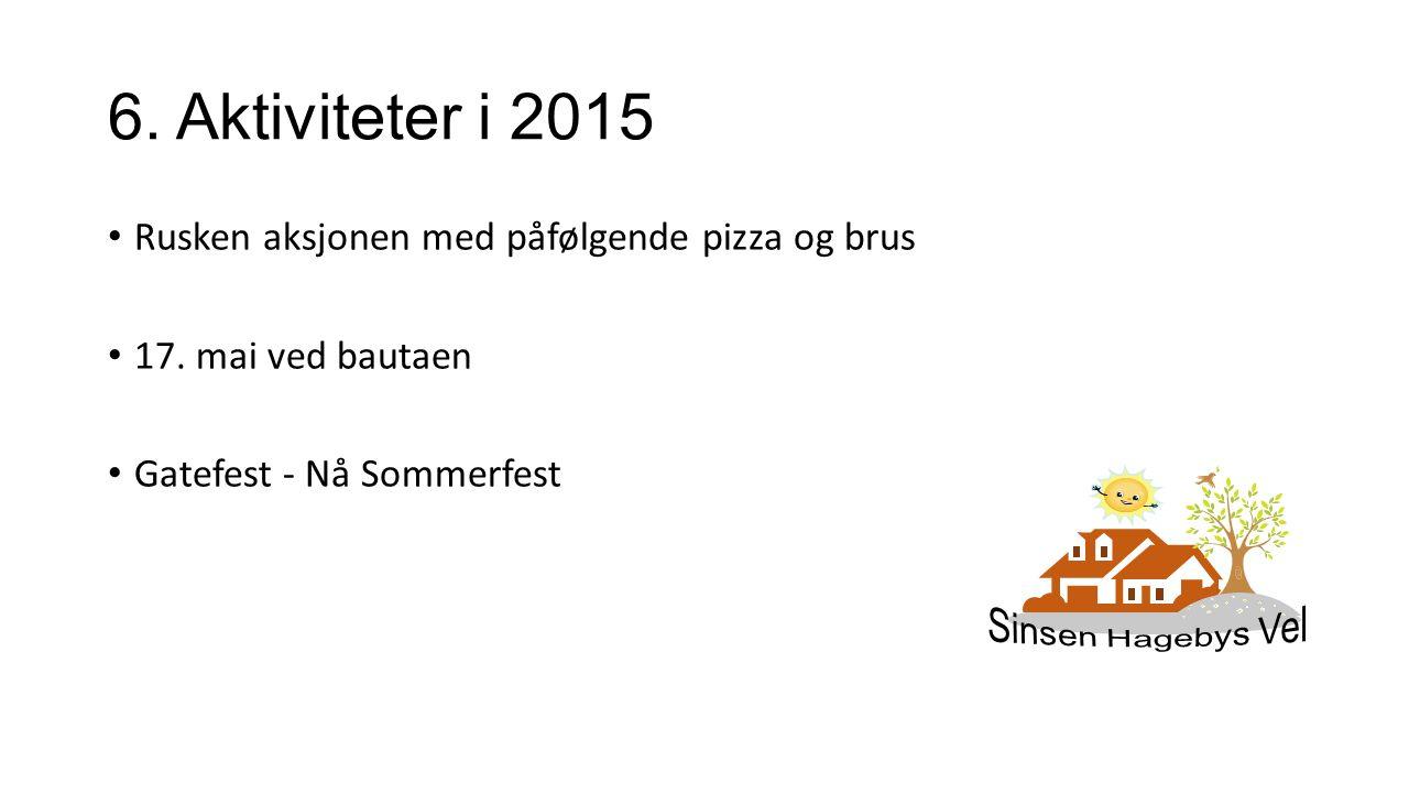 6. Aktiviteter i 2015 Rusken aksjonen med påfølgende pizza og brus 17. mai ved bautaen Gatefest - Nå Sommerfest