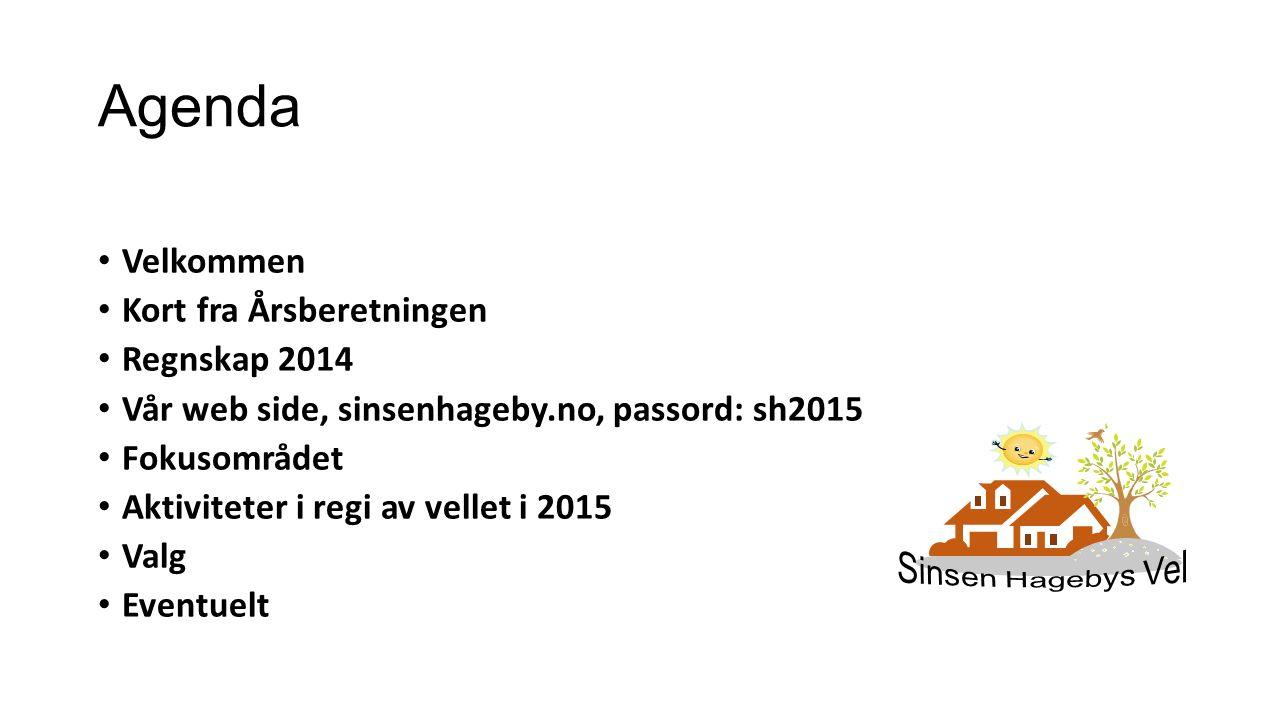 Agenda Velkommen Kort fra Årsberetningen Regnskap 2014 Vår web side, sinsenhageby.no, passord: sh2015 Fokusområdet Aktiviteter i regi av vellet i 2015 Valg Eventuelt