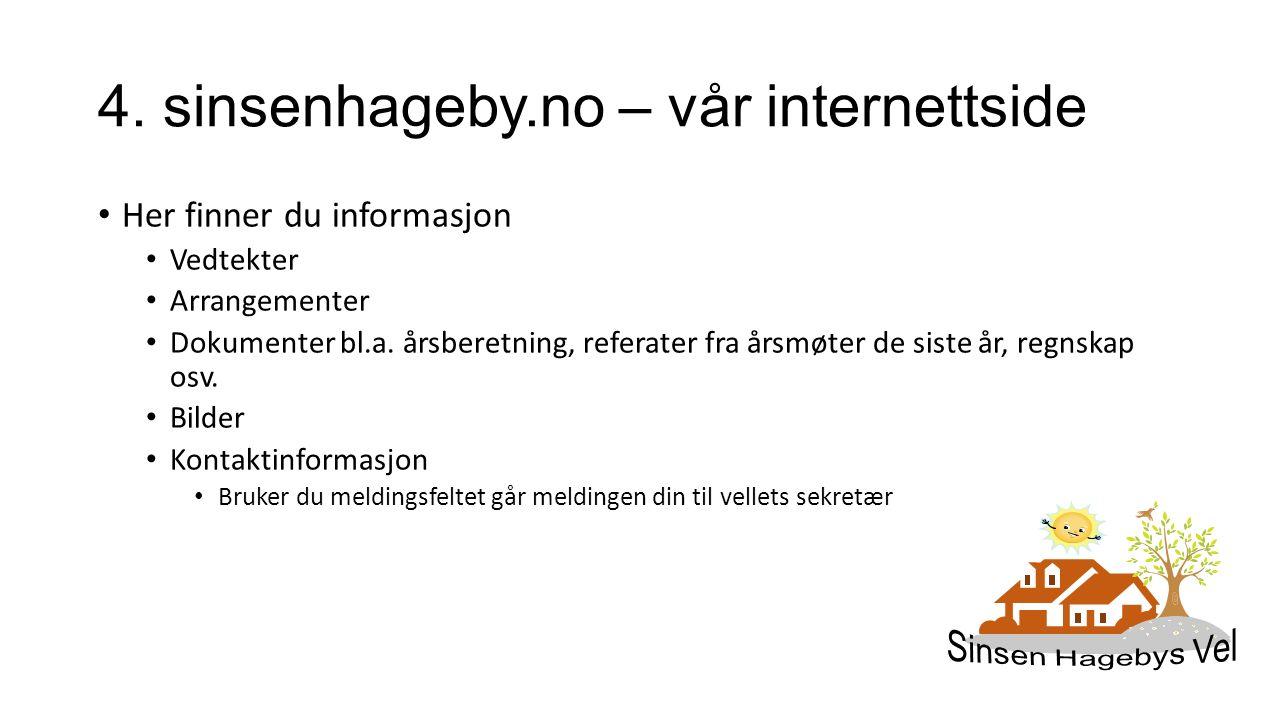 4. sinsenhageby.no – vår internettside Her finner du informasjon Vedtekter Arrangementer Dokumenter bl.a. årsberetning, referater fra årsmøter de sist