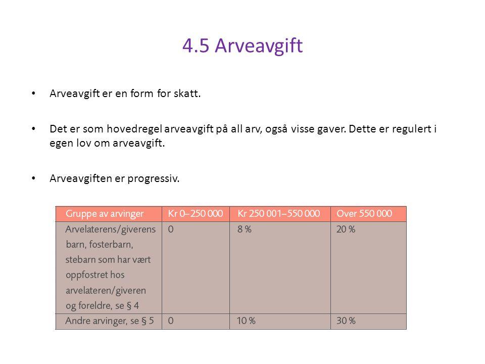 4.5 Arveavgift Arveavgift er en form for skatt.