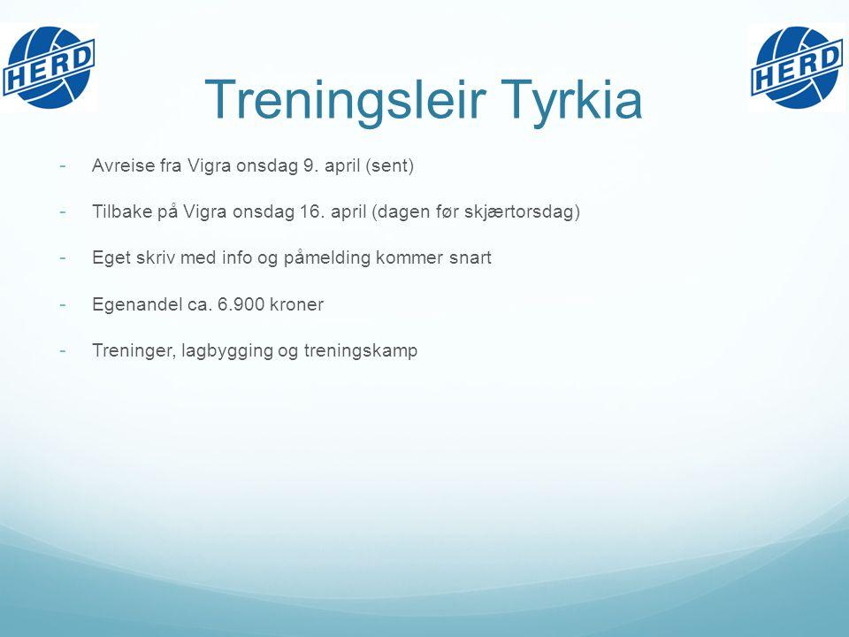 Treningsleir Tyrkia - Avreise fra Vigra onsdag 9. april (sent) - Tilbake på Vigra onsdag 16.