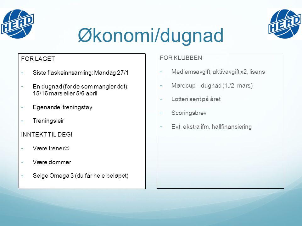 Økonomi/dugnad FOR LAGET - Siste flaskeinnsamling: Mandag 27/1 - En dugnad (for de som mangler det): 15/16 mars eller 5/6 april - Egenandel treningstøy - Treningsleir INNTEKT TIL DEG.