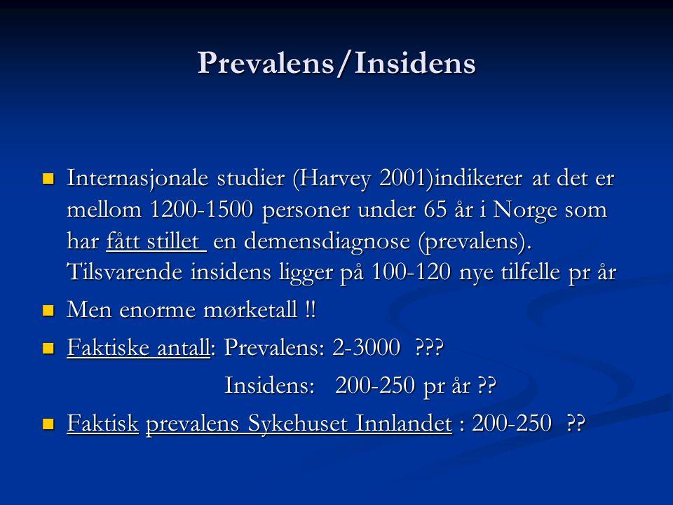 Prevalens/Insidens Internasjonale studier (Harvey 2001)indikerer at det er mellom 1200-1500 personer under 65 år i Norge som har fått stillet en demensdiagnose (prevalens).