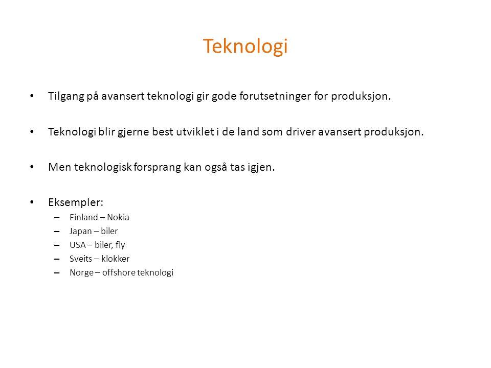 Teknologi Tilgang på avansert teknologi gir gode forutsetninger for produksjon. Teknologi blir gjerne best utviklet i de land som driver avansert prod