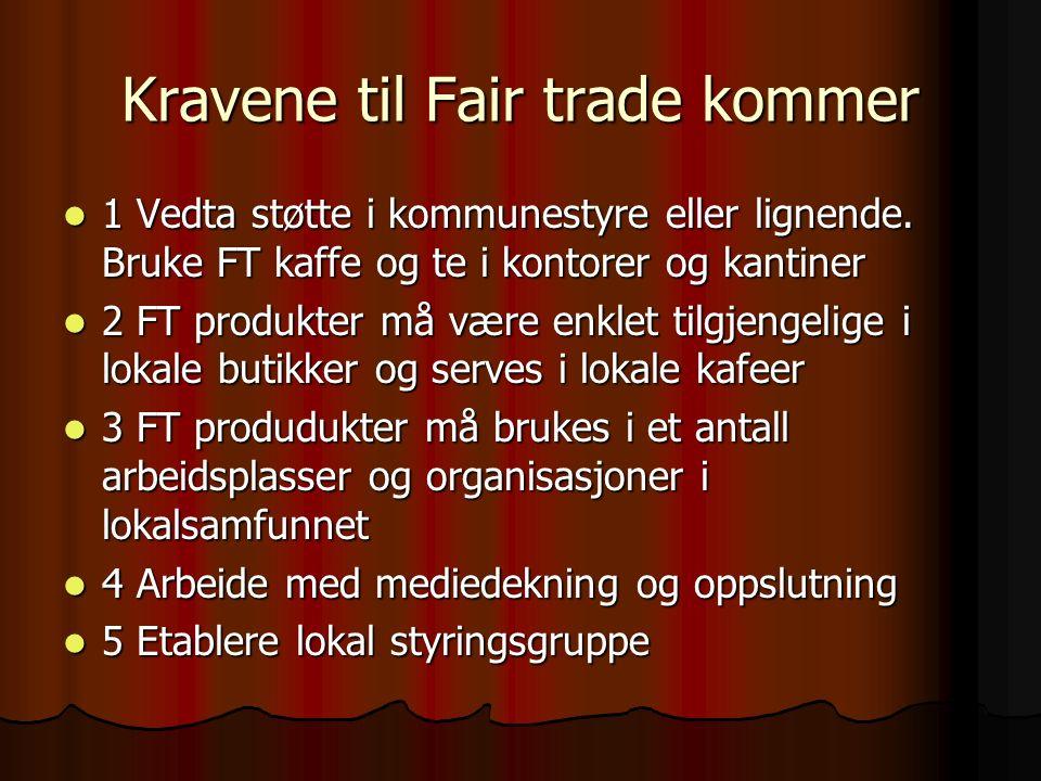 Kravene til Fair trade kommer 1 Vedta støtte i kommunestyre eller lignende.