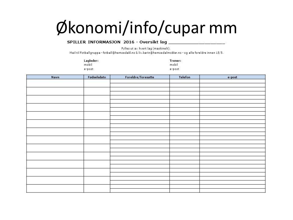 Økonomi/info/cupar mm SPILLER INFORMASJON 2016 - Oversikt lag ____________________ Fylles ut av hvert lag (maskinelt). Mail til Fotballgruppa - fotbal