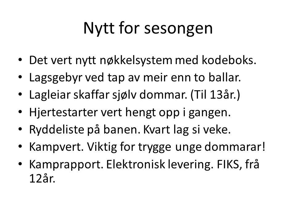 Nytt for sesongen Det vert nytt nøkkelsystem med kodeboks.