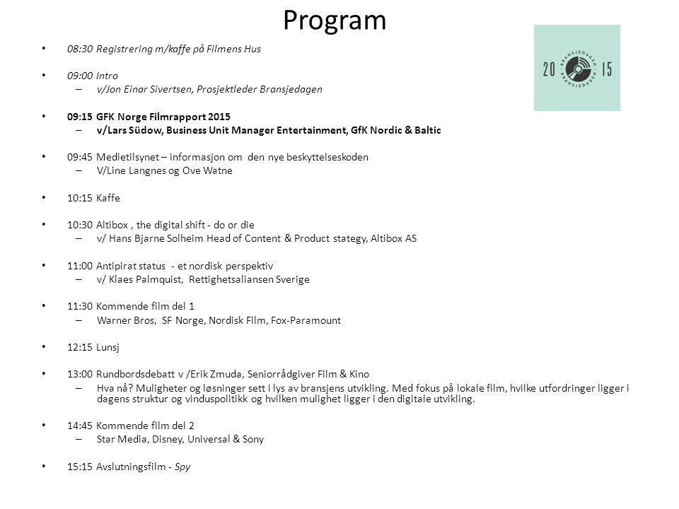 Program 08:30 Registrering m/kaffe på Filmens Hus 09:00 Intro – v/Jon Einar Sivertsen, Prosjektleder Bransjedagen 09:15 GFK Norge Filmrapport 2015 – v/Lars Südow, Business Unit Manager Entertainment, GfK Nordic & Baltic 09:45 Medietilsynet – informasjon om den nye beskyttelseskoden – V/Line Langnes og Ove Watne 10:15 Kaffe 10:30 Altibox, the digital shift - do or die – v/ Hans Bjarne Solheim, Head of Content & Product stategy, Altibox AS 11:00 Antipirat status - et nordisk perspektiv – v/ Klaes Palmquist, Rettighetsaliansen Sverige 11:30 Kommende film del 1 – Warner Bros, SF Norge, Nordisk Film, Fox-Paramount 12:15 Lunsj 13:00 Rundbordsdebatt v /Erik Zmuda, Seniorrådgiver Film & Kino – Hva nå.