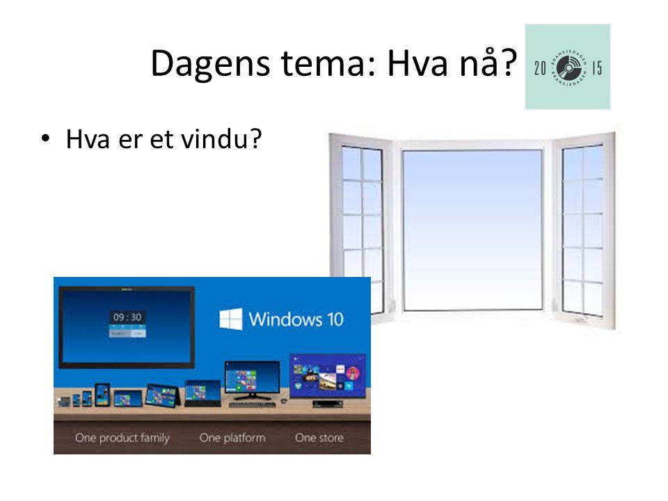 Dagens tema: Hva nå Hva er et vindu